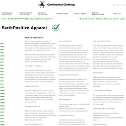 Continental Clothing UK - About EarthPositive Apparel®