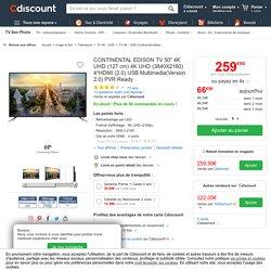 """CONTINENTAL EDISON TV 50"""" 4K UHD (127 cm) 4K UHD (3840X2160) 4*HDMI (2.0) USB Multimedia(Version 2.0) PVR Ready - téléviseur led, avis et prix pas cher"""