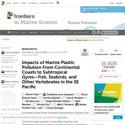 FRONTIERS IN MARINE SCIENCE 24/07/18 Impacts of Marine Plastic Pollution From Continental Coasts to Subtropical Gyres—Fish, Seabirds, and Other Vertebrates in the SE Pacific