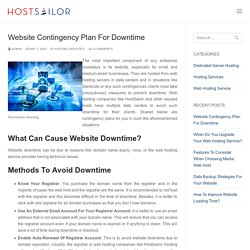 Website Contingency Plan For Downtime - HostSailor Servers