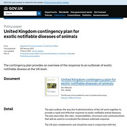 DEFRA 11/03/15 United Kingdom contingency plan for exotic notifiable diseases of animals (màj)