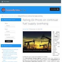 Falling Oil Prices on continual fuel supply overhang – Commodity Intraday Tips