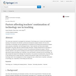 Factors affecting teachers' continuation of technology use in teaching