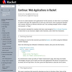 Continue: Web Applications in Racket