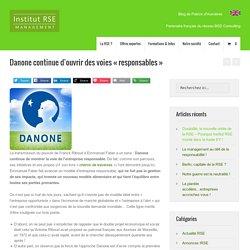 """Danone continue d'ouvrir des voies """"responsables"""" - institut RSE"""