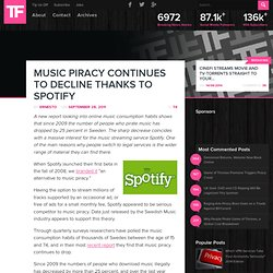 Music Piracy Continues to Decline Thanks to Spotify