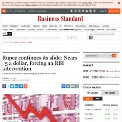 Rupee continues its slide: Nears 75 a dollar, forcing an RBI intervention