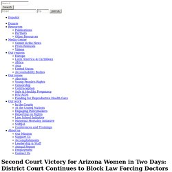 Second Court Victory for Arizona Women in Two Days: District Court Continues to Block Law Forcing Doctors to Lie to Women