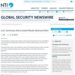 Continues Aid to Israeli Missile Defense Effort