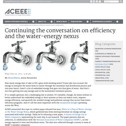 Continuing the conversation on efficiency and the water-energy nexus