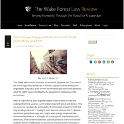Wake Forest Law Review – Our Continuing Struggle With the Idea That For-Profit Corporations Seek Profit
