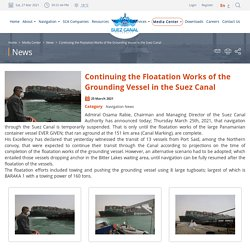 SCA - Continuing the Floatation Works of the Grounding Vessel in the Suez Canal