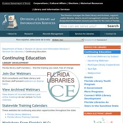 Continuing Education - Division of Library and Information Services - Florida Department of State