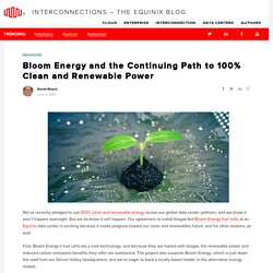 Bloom Energy and the Continuing Path to 100% Clean and Renewable Power