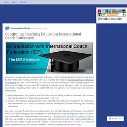 Continuing Coaching Education International Coach Federation