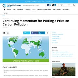 Continuing Momentum for Putting a Price on Carbon Pollution