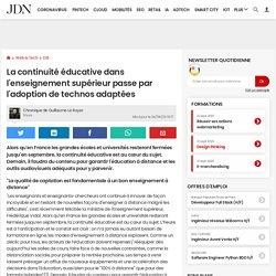 La continuité éducative dans l'enseignement supérieur passe par l'adoption de technos adaptées