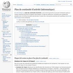 Plan de continuité d'activité (informatique)