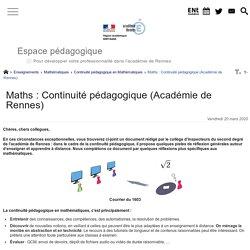 Maths : Continuité pédagogique (Académie de Rennes) - Espace pédagogique