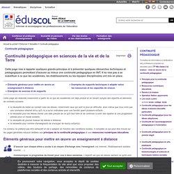 Continuité pédagogique - Continuité pédagogique en sciences de la vie et de la Terre