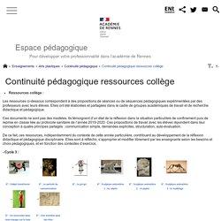 Continuité pédagogique : ressources collège - Espace pédagogique