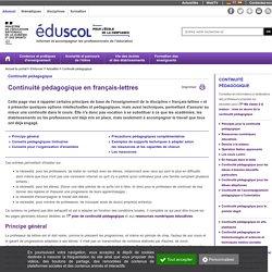 Eduscol - Continuité pédagogique en français-lettres