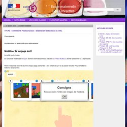 TPS-PS : continuité pédagogique – semaine du 30 mars au 3 avril » * * École maternelle * * Les Croisettes