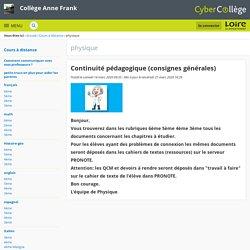 Continuité pédagogique (consignes générales) - physique - Collège Anne Frank
