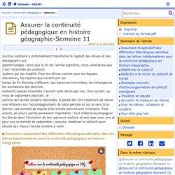 Assurer la continuité pédagogique en histoire géographie-Semaine 11 - Odyssée : Histoire Géographie EMC