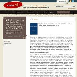 Note de lecture : La sociologie des usages, continuités et transformations de Geneviève Vidal