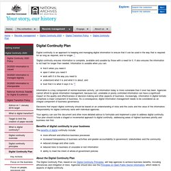 Digital Continuity Plan – National Archives of Australia, Australian Government