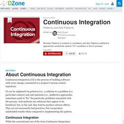 Continuous Integration - DZone - Refcardz