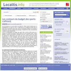 Les contours du budget des sports s'affinent - Localtis.info - Caisse des Dépôts