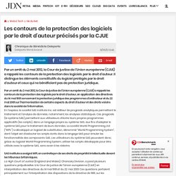 Les contours de la protection des logiciels par le droit d'auteur précisés par la CJUE