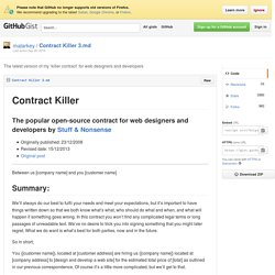 The latest version of my 'killer contract' for web designers and developers