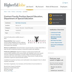 Contract Faculty Position-Special Education, Department of Special Education