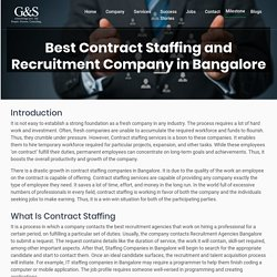 Best Contract Staffing and Recruitment Company in Bangalore