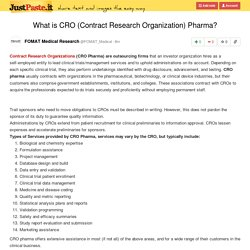 What is CRO (Contract Research Organization) Pharma?