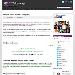 Sample SEO Contract Template