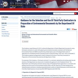 Guidance for the Selection and Use Of Third-Party Contractors in Preparation of Environmental Documents by the Department Of State