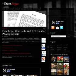 Free Legal Contracts and Releases for Photographers | Resources