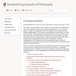 Contractualism (Stanford Encyclopedia of Philosophy)