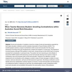 When Teacher Becomes Student: Unveiling Contradictions within Australian Social Work Education