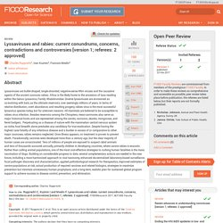 F1000RESEARCH 23/02/17 Lyssaviruses and rabies: current conundrums, concerns, contradictions and controversies