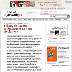 Bolivie, « les quatre contradictions de notre révolution », par Alvaro Garcia Linera
