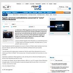"""Egypte: annonces contradictoires concernant le """"coma"""" d'Hosni Moubarak"""