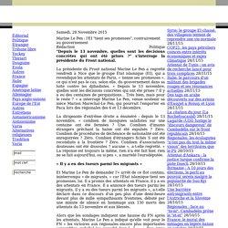 """Marine Le Pen : l'EI """"tient ses promesses"""", contrairement au gouvernement"""