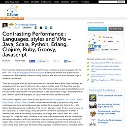 Contrasting Performance : Languages, styles and VMs – Java, Scala, Python, Erlang, Clojure, Ruby, Groovy, Javascript