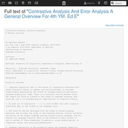 """Full text of """"Contrastive Analysis And Error Analysis A General Overview For 4th YM. Ed E"""""""