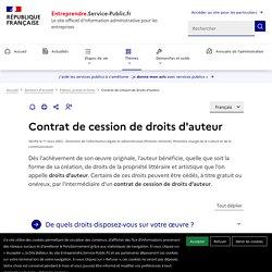 Contrat de cession des droits d'auteurs - professionnels